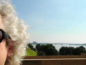 Gray hair. Blue skies. Me on the Mississippi.