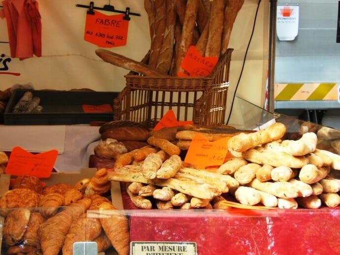 photo, image, bread, paris market