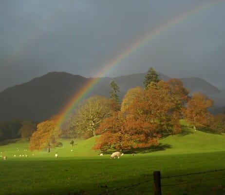 photo, image, rainbow, lake district