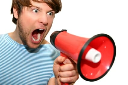 angry man with megaphone