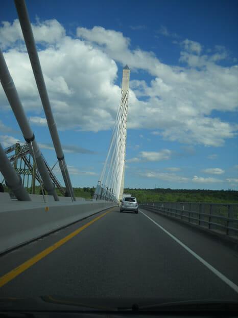 dirving across a bridge