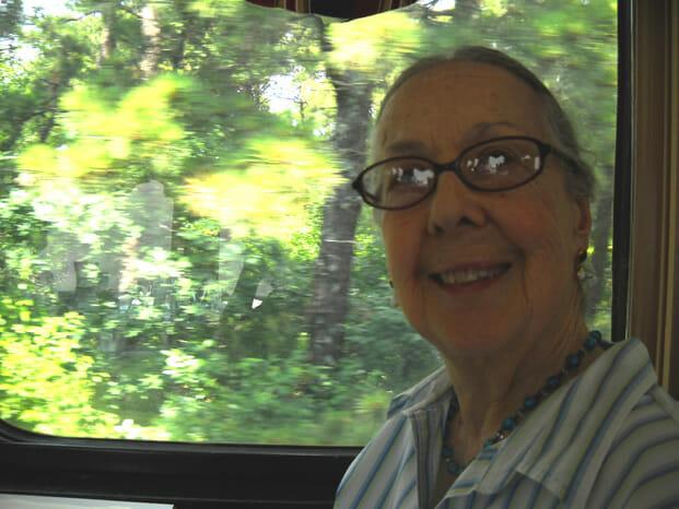 Jeanette on train