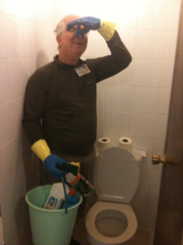Rick cleans toilets