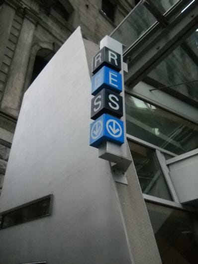 The RESO sign indicates and entrance to Montreal's Interior City.