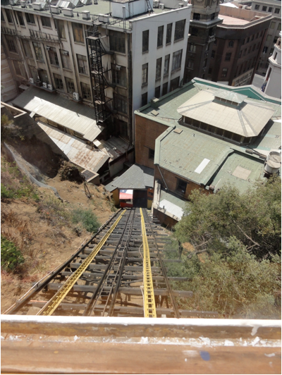 Riding up the Ascensor which is a fenicular in Europe.