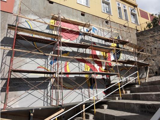 Mural being restored