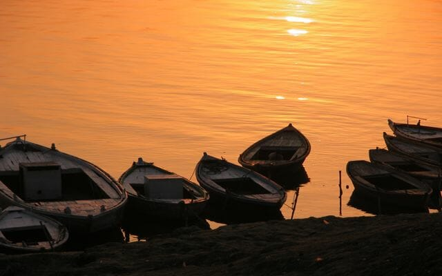 Boats at sunrise, Varanasi