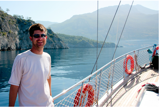 Bryan on a boat off the coast of Turkey