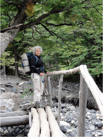 Woman hiking in Torres del Paine Patagonia