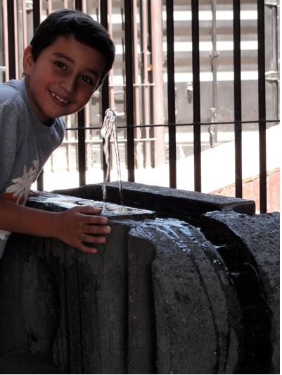 boy at drinking fountain