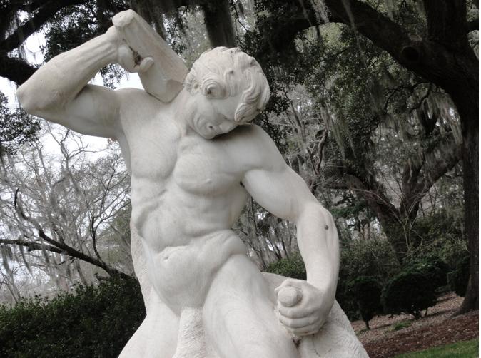 Man carving himself.
