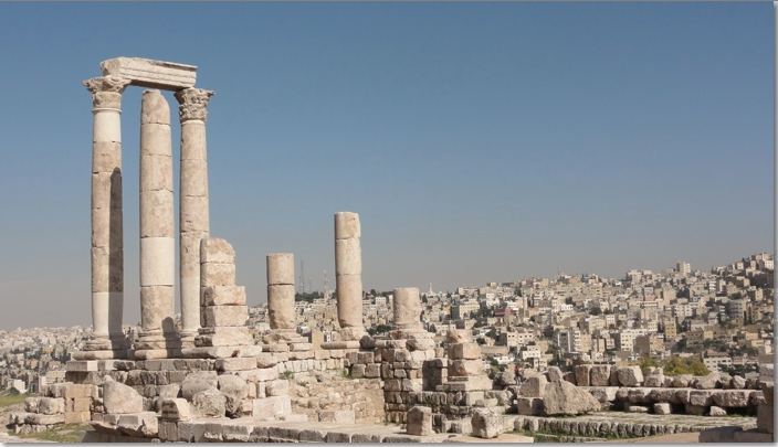 View of Roman ruins in the Citadel, Amman, survival