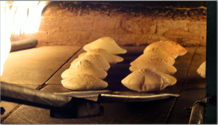 Fresh bread in oven