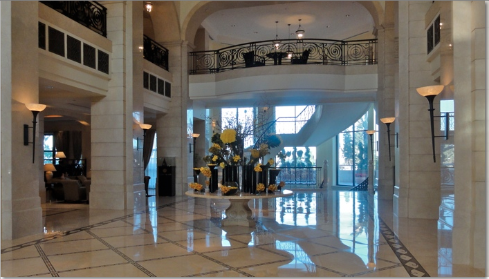 Lobby of Four Seasons Hotel Amman, where to stay in jordan