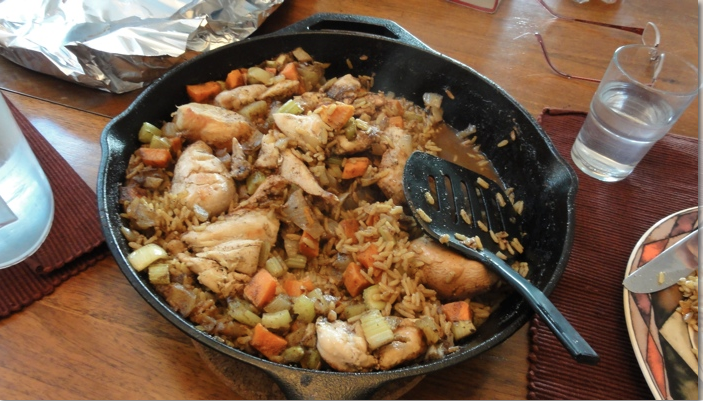 image chicken dish in a cast iron pan