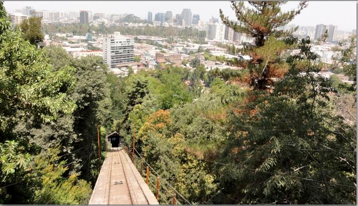 Finicular going up San Cristobal.