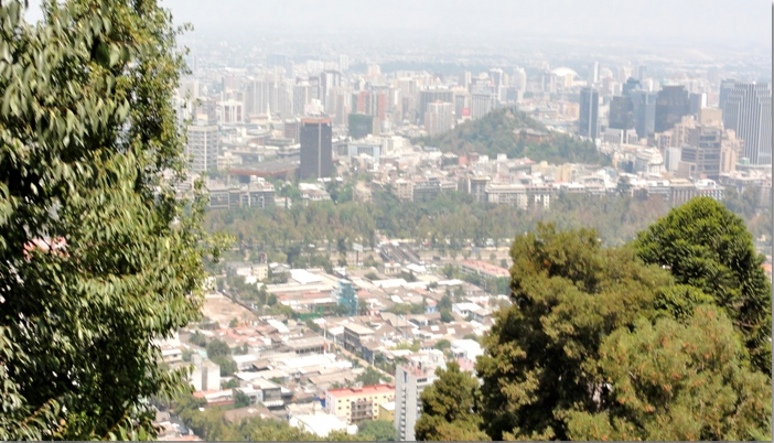 View of Santiago Chile from San Cristbal