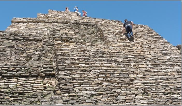Climbing Tonina Pyramid