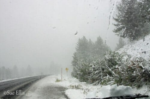 photo, image, snow, road, mammoth lakes, california, solo road trips