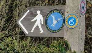 Sign pointing to walking path