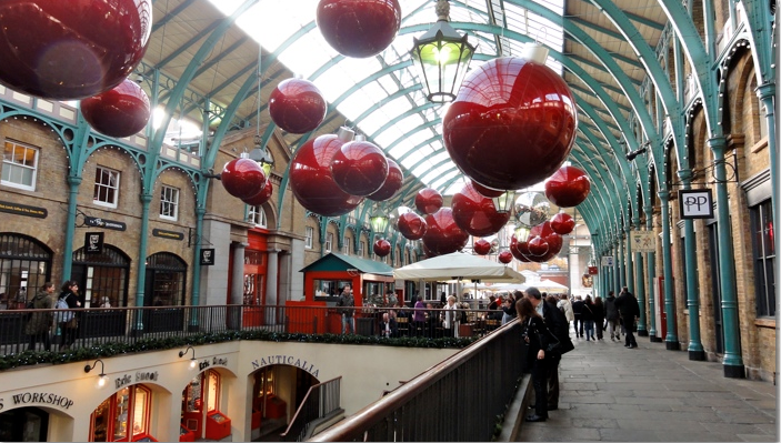 Covent Garden decorated for Christmas.