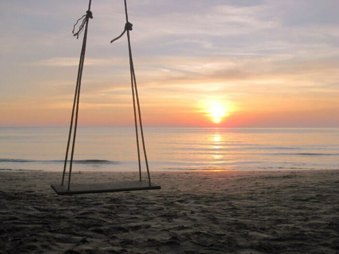 photo, image, koh chang, swing, sunset, thailand