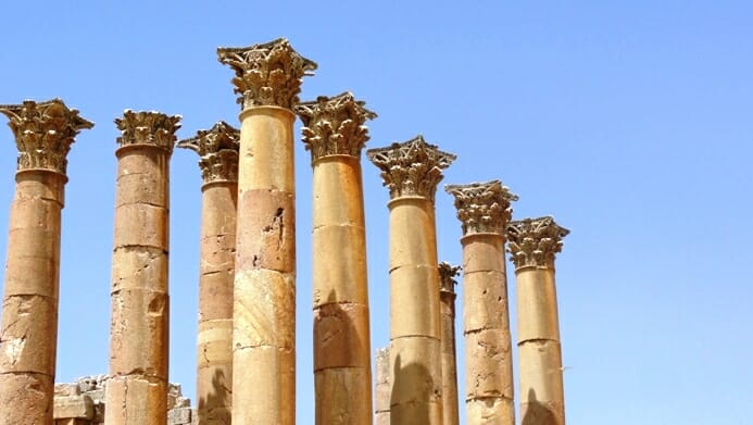 photo, image, columns, jerash, jordan