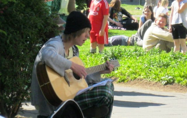 photo, image, guitarist, park
