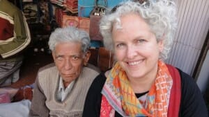 With a lovely man selling leather books in Udaipur, India.