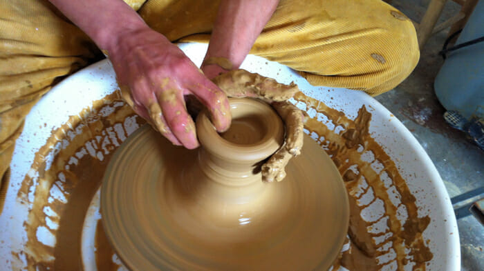 pottery class on a learning vacation, educational travel