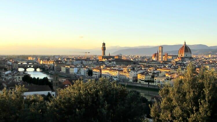 photo, image, florence, sunset, italy