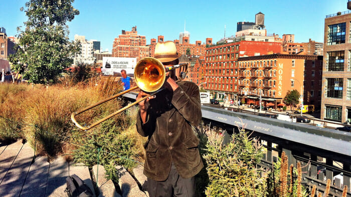 Musician on High Line (and yes, I contributed to his hat).