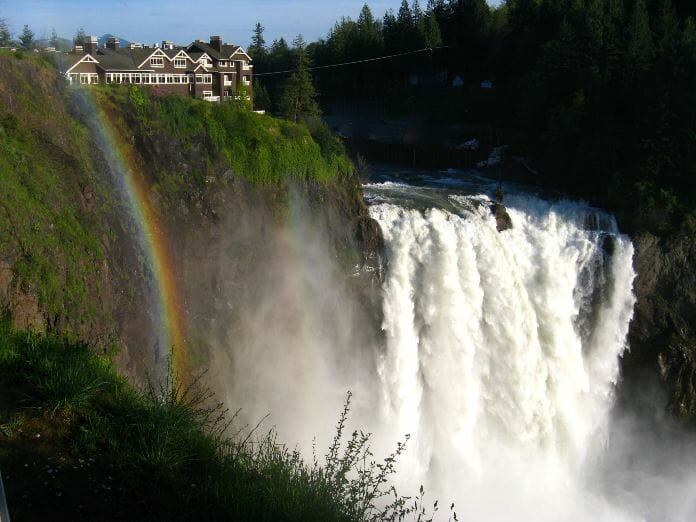 photo, image, waterfall, rainbow