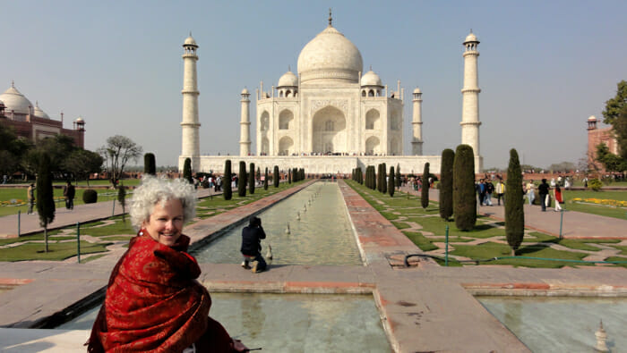 Janice in front of the Taj Mahal, Agra, India.