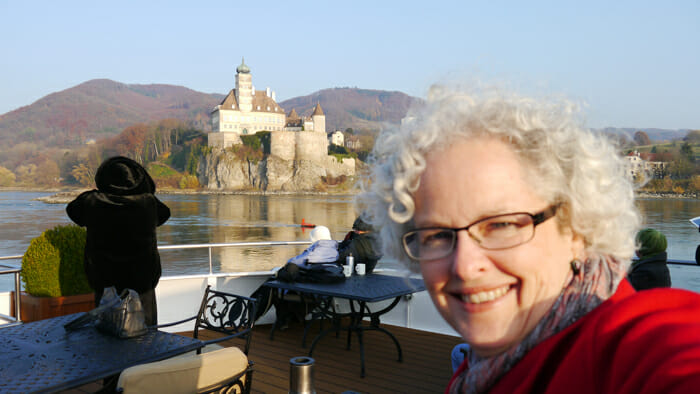 janice on a river cruise through the Waccau Valley near Vienna, Austria.