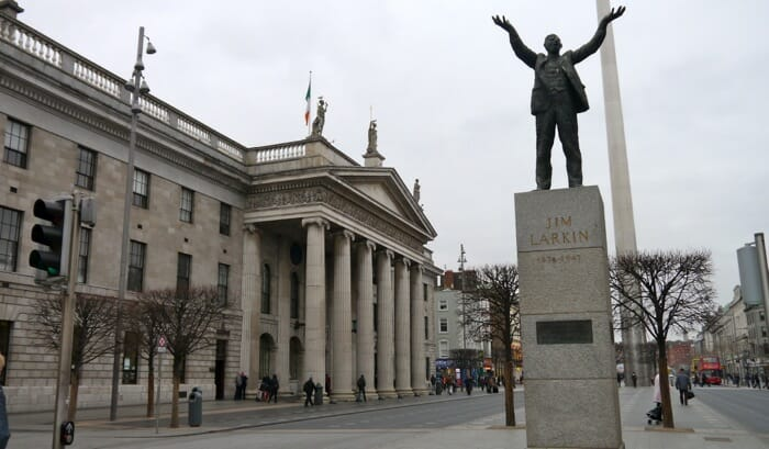 The statue is of Jim Larkin, a trade union leader. The post office is on the left - it was from here that the rebels declared Ireland a republic in 1916.