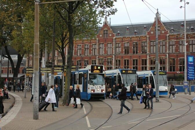 photo, image, trams, amsterdam