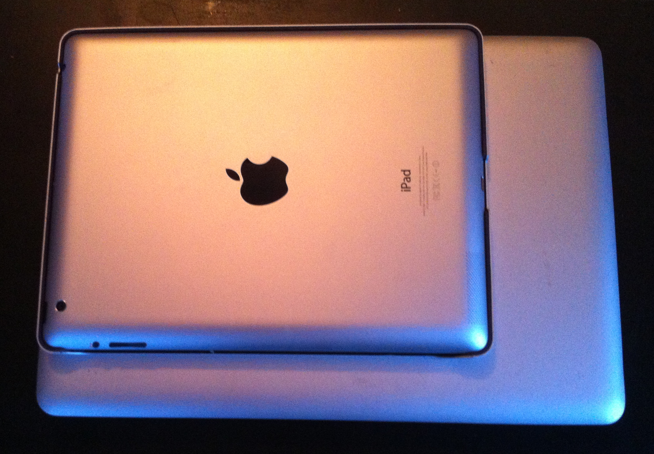 My iPad is much smaller and lighter than my iBook. Easier to carry, less risk and about 70% of the functionality.