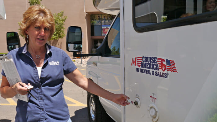 Karen from Cruise America gave me a tour of the 19 foot RV and lots of driving tips.