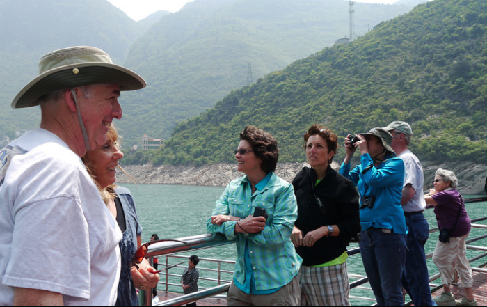 A few of my fellow travelers as we go through the second gorge on the Yangtze River., money stress