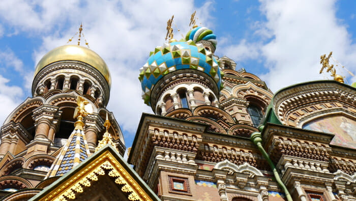 The domes atop The Church of the Bleeding Heart in St. Petersburg, Russia.