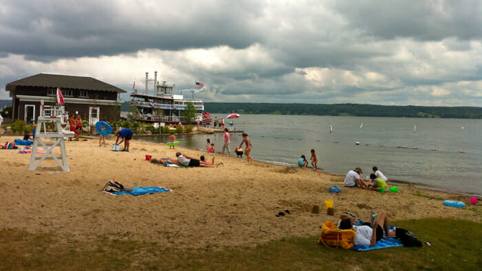 The beach at Chautauqua Lake.
