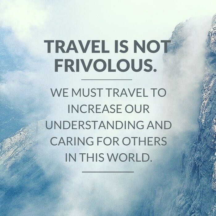 Travel is not frivolous Twitter