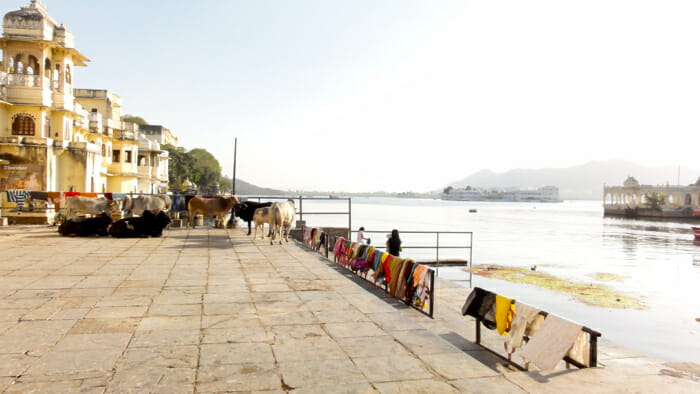 Ghatts line Lake Pichola.