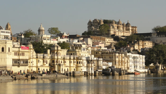 View of Udaipur from the lake in the early evening.