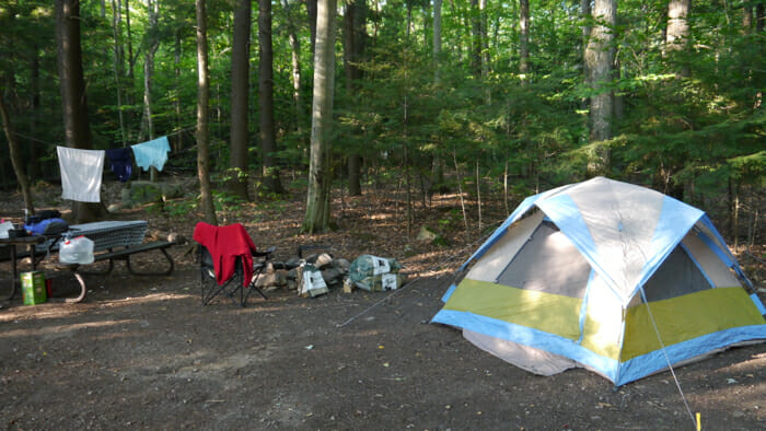 My campsite in the Hardwood Hills section of Bon Echo Provincial Park, solo camping