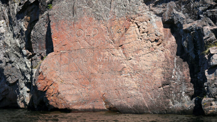 This carved rock is a tribute to Walt Whitman.