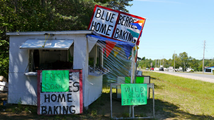 This is blueberry season in Northern Ontario. This is a classic roadside stand.