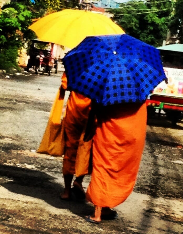 photo, image, umbrellas, monks