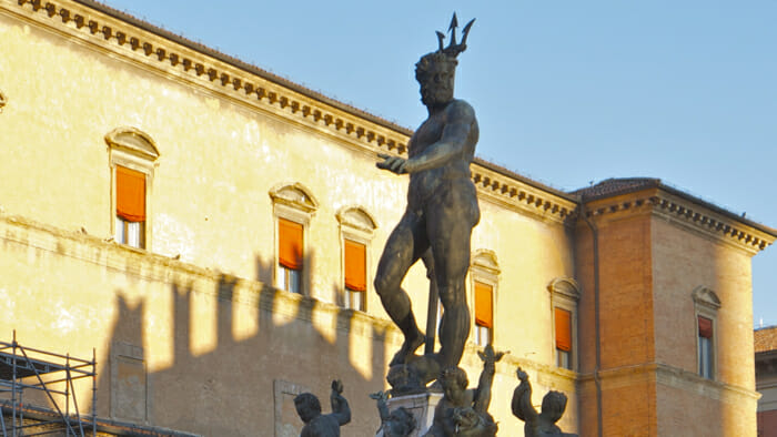 The Neptune Fountain is in the Piazza Maggore, the main square of the city.